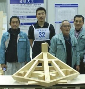 完成した正五角形小屋組み